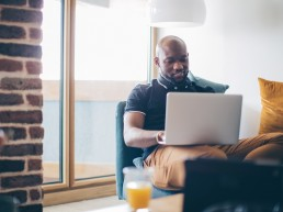 african american man on computer