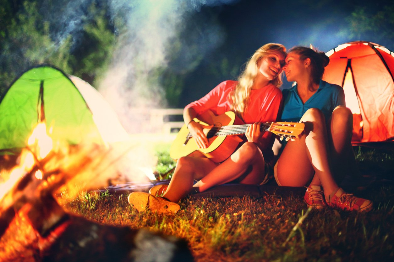 lesbian couple and firepit